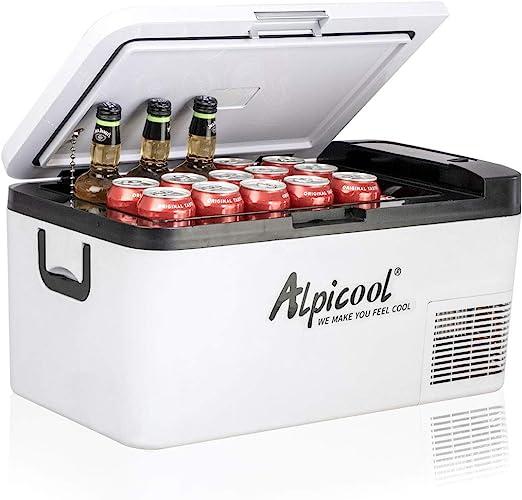 Alpicool K18 18 litros Portátil Coche Frigoríficos Mini Nevera de Coche Eléctrica 12/24V CC Neveras Congelador de Viaje Automóvil Refrigerador para ...