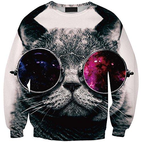 Sexy&Stylish Glasses Animal Cat Printed Clothes Autumn Women 3D Sweatshirt
