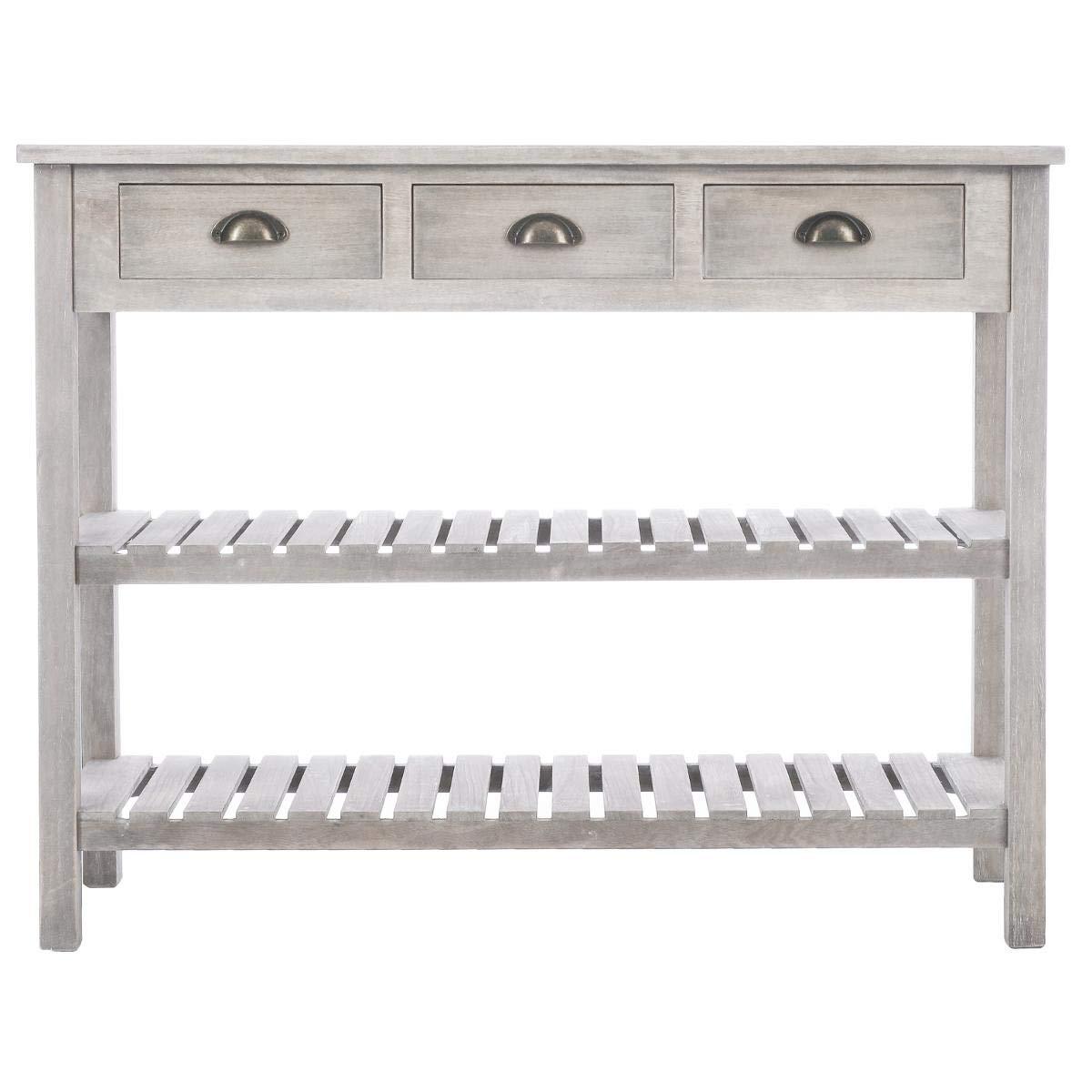 Coloris Bois Patin/é Blanc 2 /étag/ères Atmosphera Meuble Console 3 tiroirs Esprit Charme dantan