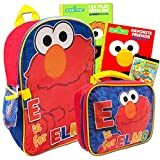 Sesame Street Elmo Backpack Set -- Deluxe Sesame Street Backpack and Lunch Box with Stickers and 2 Coloring Books (School Supplies Bundle)