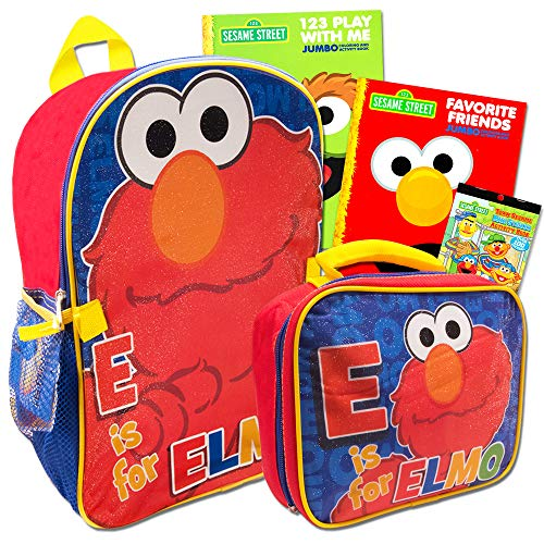 Sesame Street Elmo Backpack Set -- Deluxe Sesame Street Backpack and Lunch Box with Stickers and 2 Coloring Books (School Supplies ()