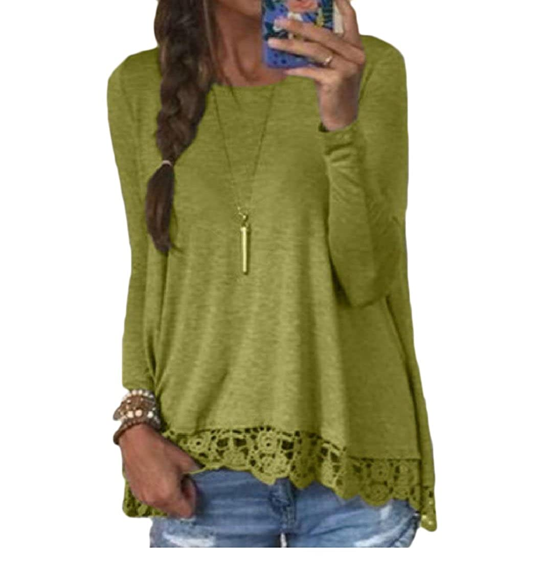 Tootlessly-Women Solid Lace T Shirts Fashion Plus Size Blouse Tops