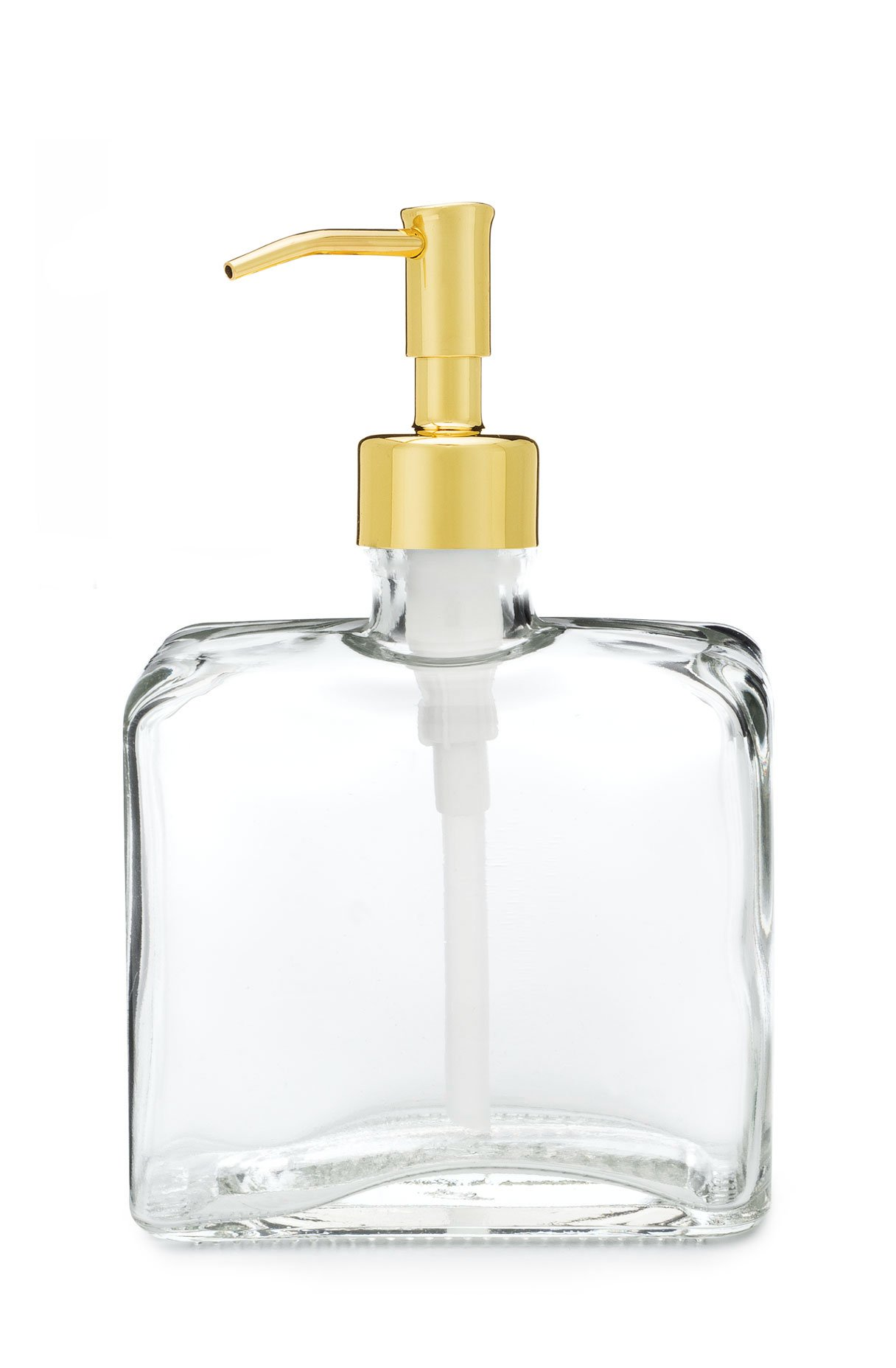 Urban Square Recycled Glass Soap Dispenser with Metal Pump (Gold)