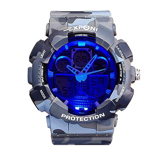 Relojes Hombre Relojes de Pulsera Militar Impermeable Digital Camuflaje Calendario Alarma Deportes Diseño LED Reloj de Correa de Goma Multifuncion Analógico ...