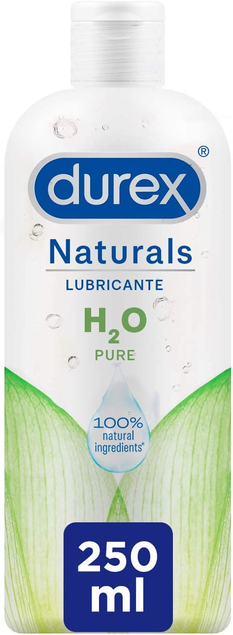 Durex Naturals H2O Lubricante Base Agua, 100% Natural Sin Fragancia, Colorantes ni Agentes Irritantes