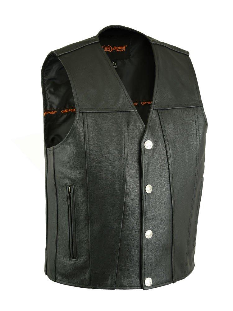 DS125 Men's Single Back Panel Concealed Carry Vest (Buffalo Nickel Head Snaps) - Motorcycle Vest