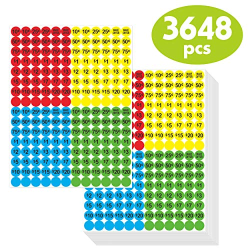 3648 PCs Garage Sale Flea Market Pre-Priced Pricing Stickers in Bright Colors (Yellow/Red/Green/Cyan), 3/4
