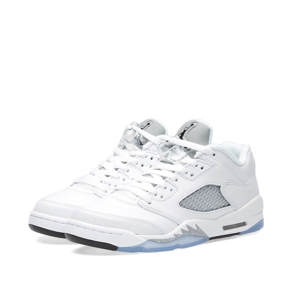 quality design 3a891 d575f Nike Air Jordan Junior Big Kids Retro 5 Low White Leather Fashion Sneakers 8