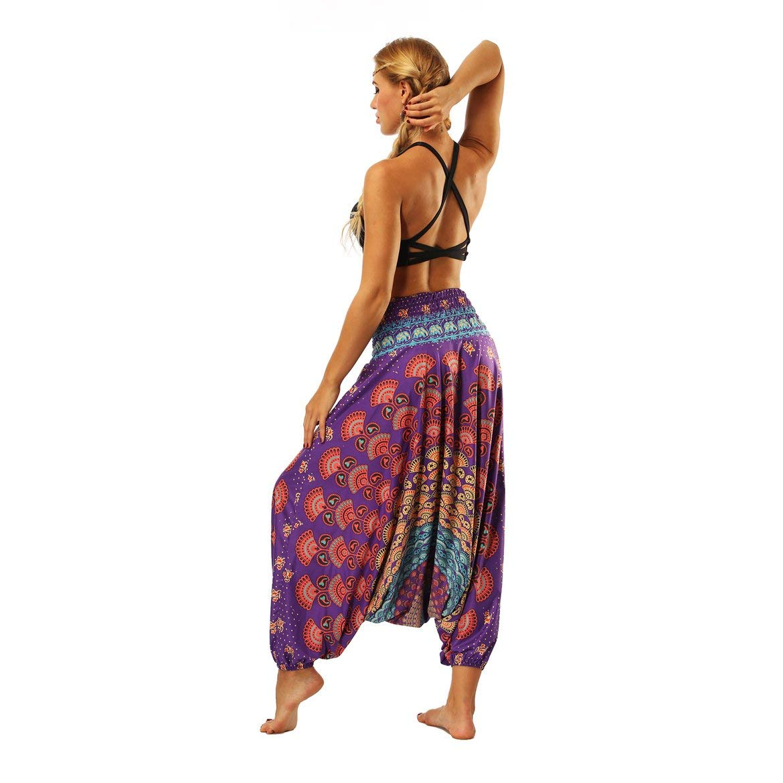 JohnJohnsen Elegante 3D Print Poliestere India Danza del Ventre Pantaloni Larghi Yoga Pantaloni Harem del Piedino Pantaloni Fitness Allentate per Le Donne Multicolore