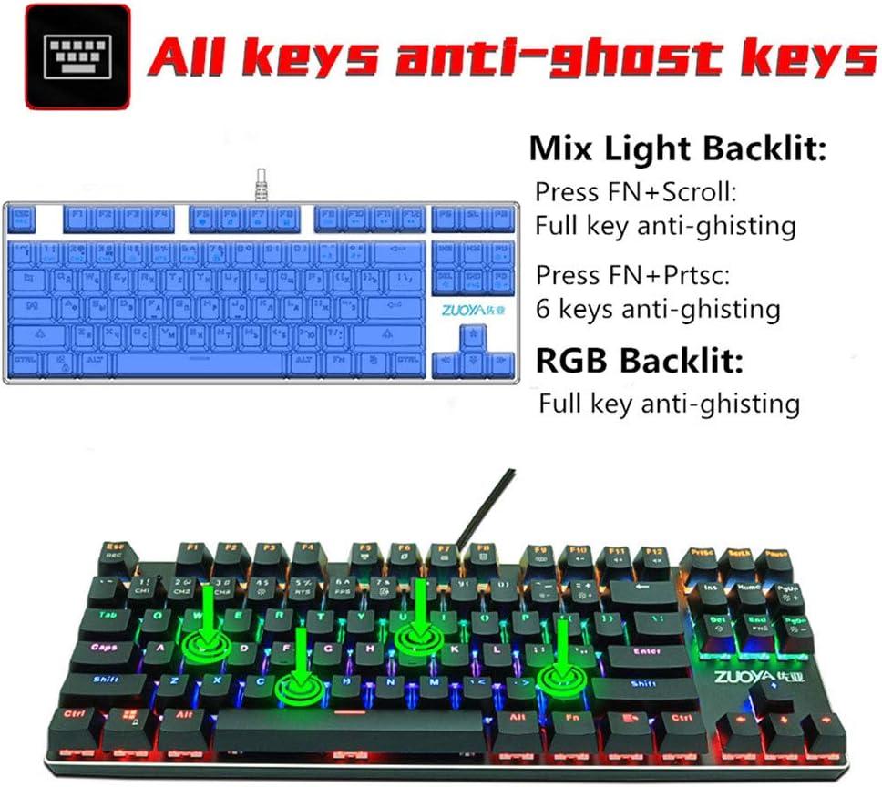 HDJC Wired Game Keyboard 87 Key Mechanical Keyboard Green Axis Red Axis RGB Wired Backlit Keyboard Switch Keyboard,Red