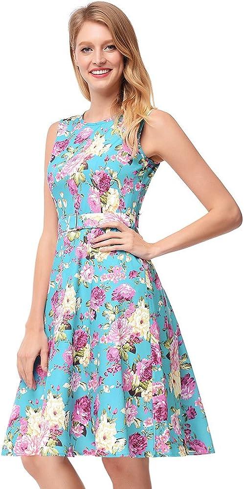 Antaina Sky Blue Floral Print 50s Flared Sleeveless Skater Dress with Belt
