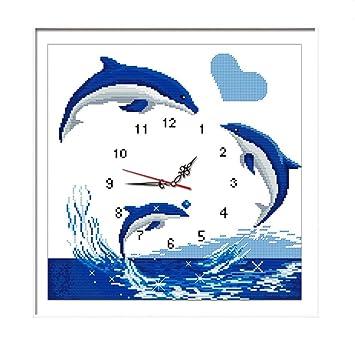TTKJ Kits de Punto de Cruz Reloj de los Amantes de los Delfines Bordado Completo Costura