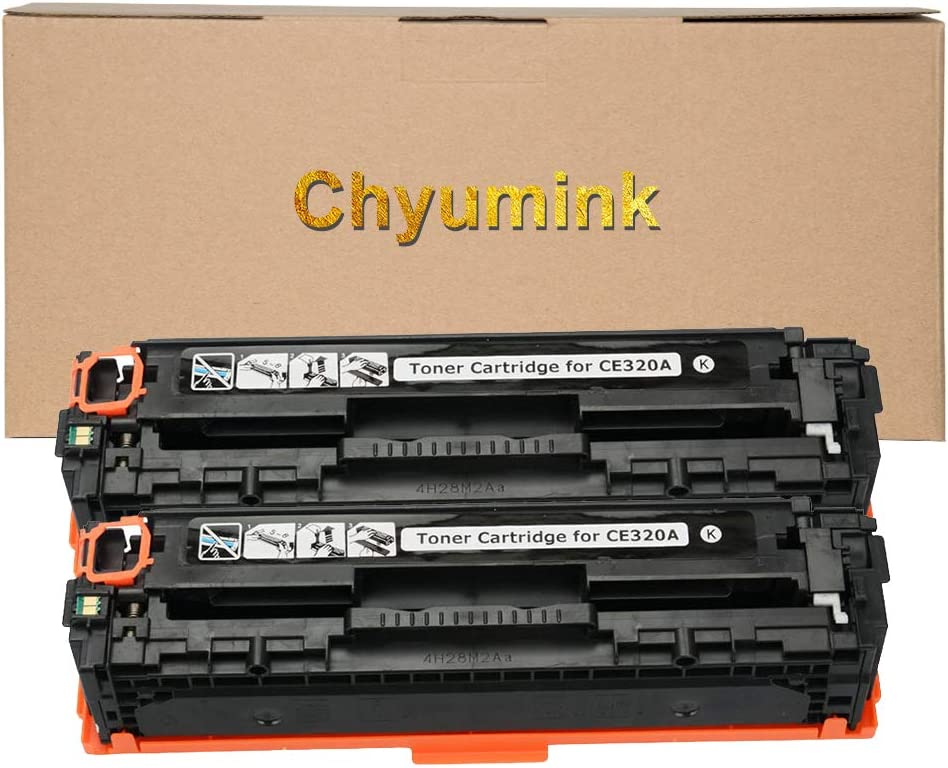 Chyumink Remanufactured Replacement for HP 128A CE320A Black Toner Cartridges for use with HP Color Laserjat CP1210 CP1215 CP1510 CP1515 CP1518 CP1525n CP1525nw CM1415fnw - 2 Pack