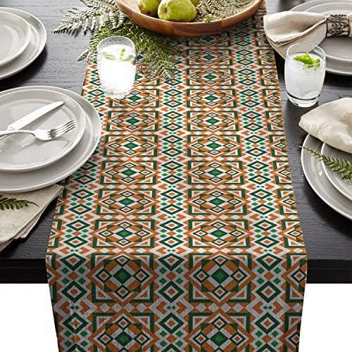 テーブルランナー アイルランドの旗 シンブル 抽象 ジオメトリー テーブルクロス お食事マット プレースマット おしゃれ インテリア 食卓飾り 滑り止め 欧風 無地 おもてなし パーティー ホームデコレーション 36x183cm