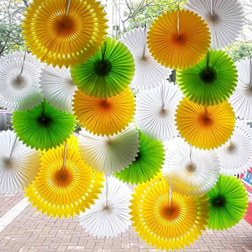 SANNIX Vintage Collection Hanging Tissue Paper Fan Party Decoration 16