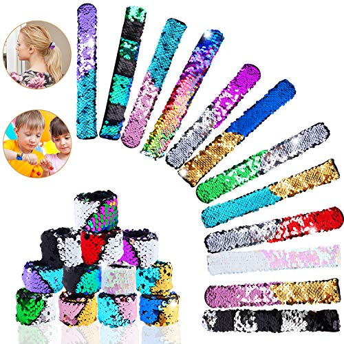 Hicdaw Bracelet for Mermaid Sequin Slap, 24 Pcs Flip Bracelet for Mermaid Bracelet 24 Colors Wristband for Party Favors Birthday ()
