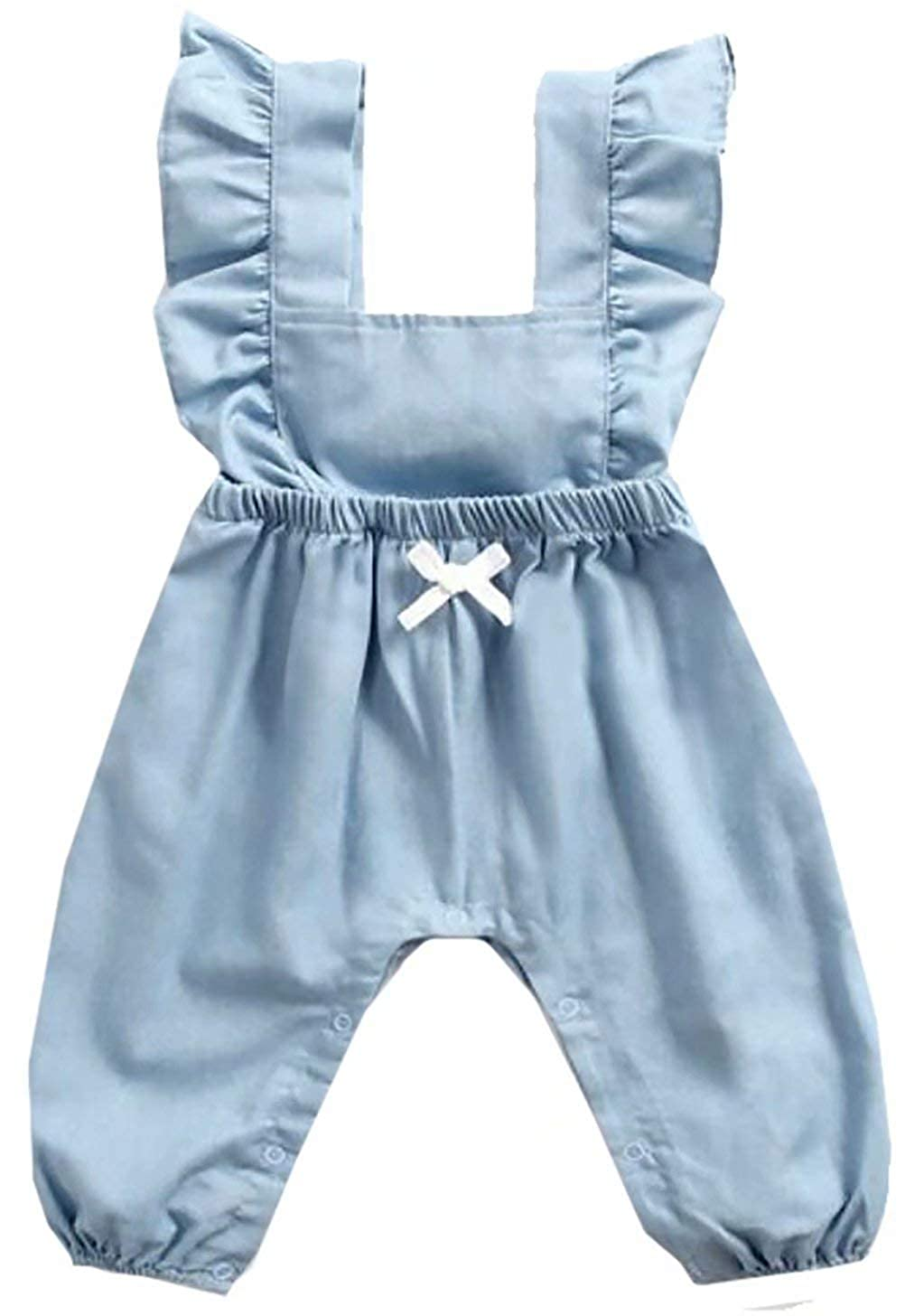 KIDDAD Toddler Baby Girls One Piece Short Sleeve Ripped Demin Bowknot Jeans Ruffle Romper Sunsuit Outfits Jumpsuit