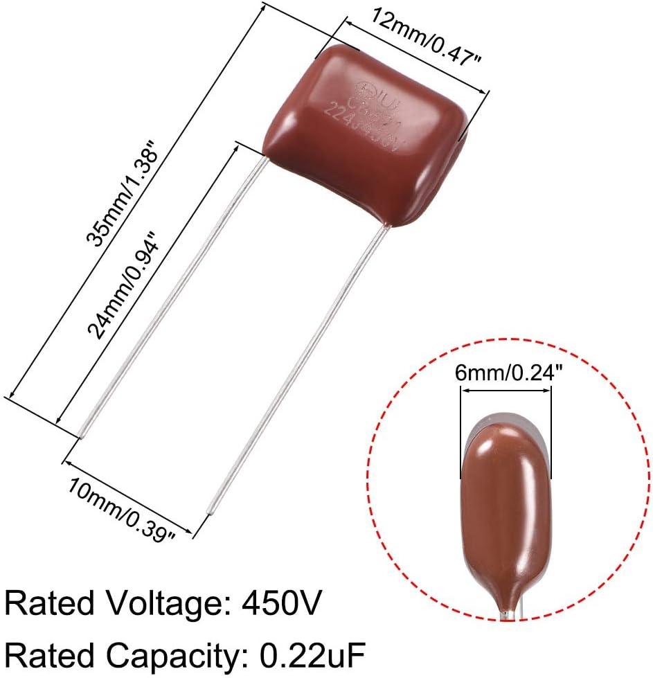 sourcing map 10Stk CBB21 Kondensatoren metallisierte Polypropylenfolie 450V 0,22uF