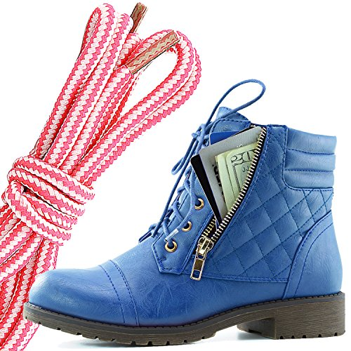 Dailyshoes Donna Militare Allacciatura Fibbia Stivali Da Combattimento Alla Caviglia Alta Esclusiva Tasca Per Carte Di Credito, Rosa Bianco Blu Pu