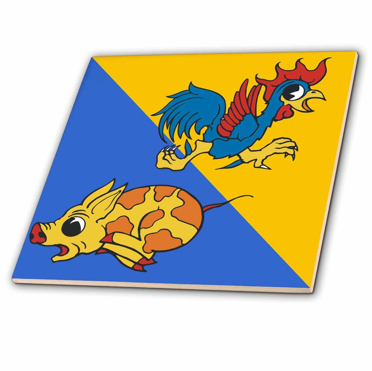 3dRose ct/_29028/_1 Running Rooster and Pig-Ceramic Tile 4-Inch