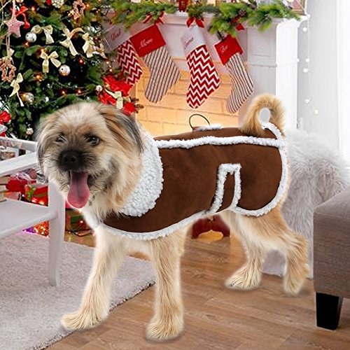 EocuSun Pet Clothes for Dogs Winter Coat Cat Dog Vest Warm Jacket Apparel Shearling Fleece Cold Weather Coats for Medium Large Dogs Cats Puppy with Furry Collar by, Brown L by EocuSun (Image #2)