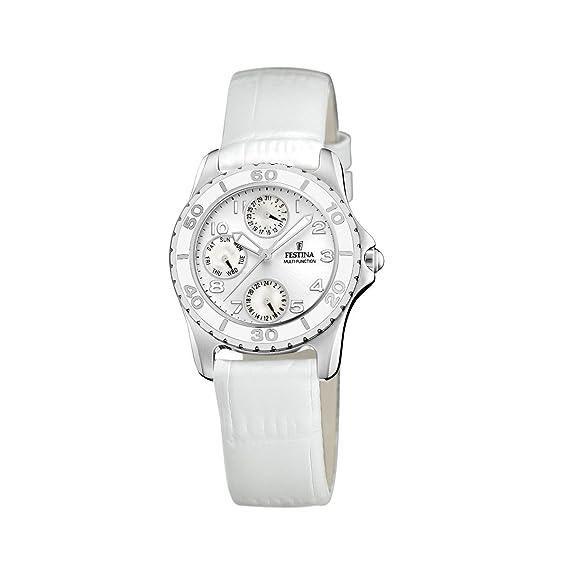 FESTINA F16201/1 - Reloj de mujer de cuarzo, correa de piel color blanco: Festina: Amazon.es: Relojes