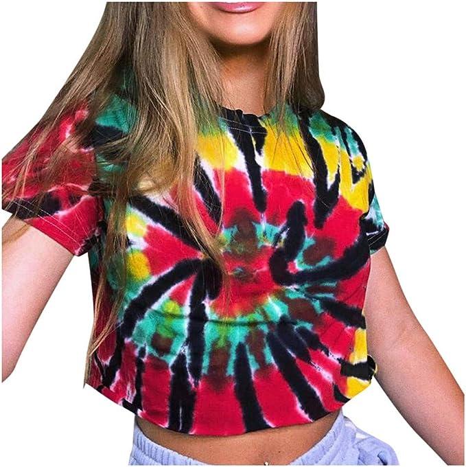 KEERADS- Tie-Dye - Camiseta para mujer de moda Harajuku ...
