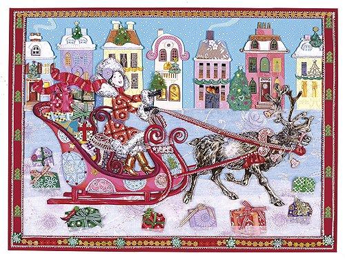 Weihnachtsfrau mit Rentierschlitten