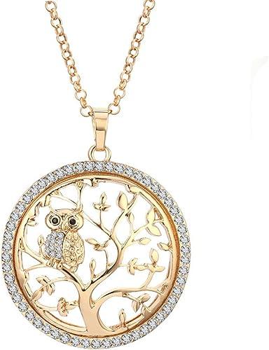 Vintage Silver Crystal Rhinestone Animal Owl Pendant Necklace Women Jewelry Gift