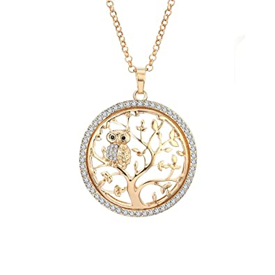 96d31765d YOYOMA Fashion Necklace Women,Tree Life Owl Pendant Necklace Girls CZ  Crystal Necklace Long Chain