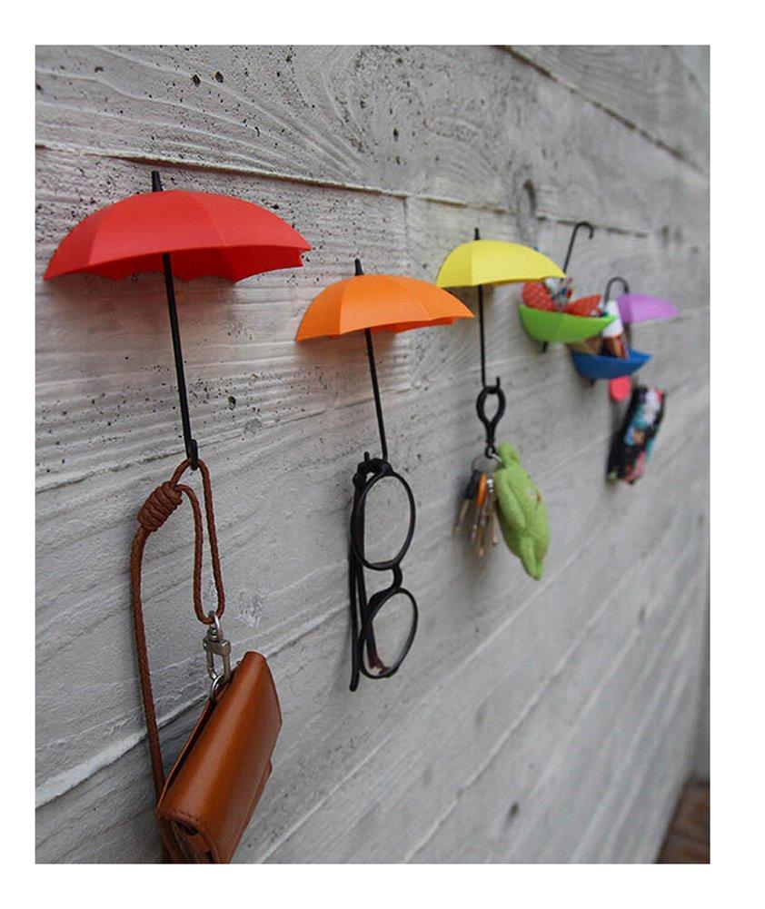 ODN 3pcs Colorful DIY Umbrella Wall Hanger Orange Yellow Red Color