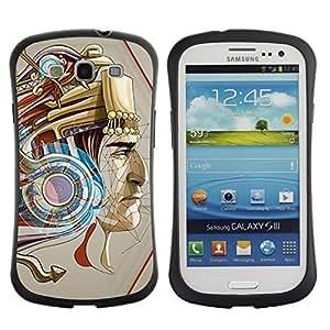 Hybrid Anti-Shock Bumper Case for Samsung Galaxy S3 / Mystical Inca Mayan God