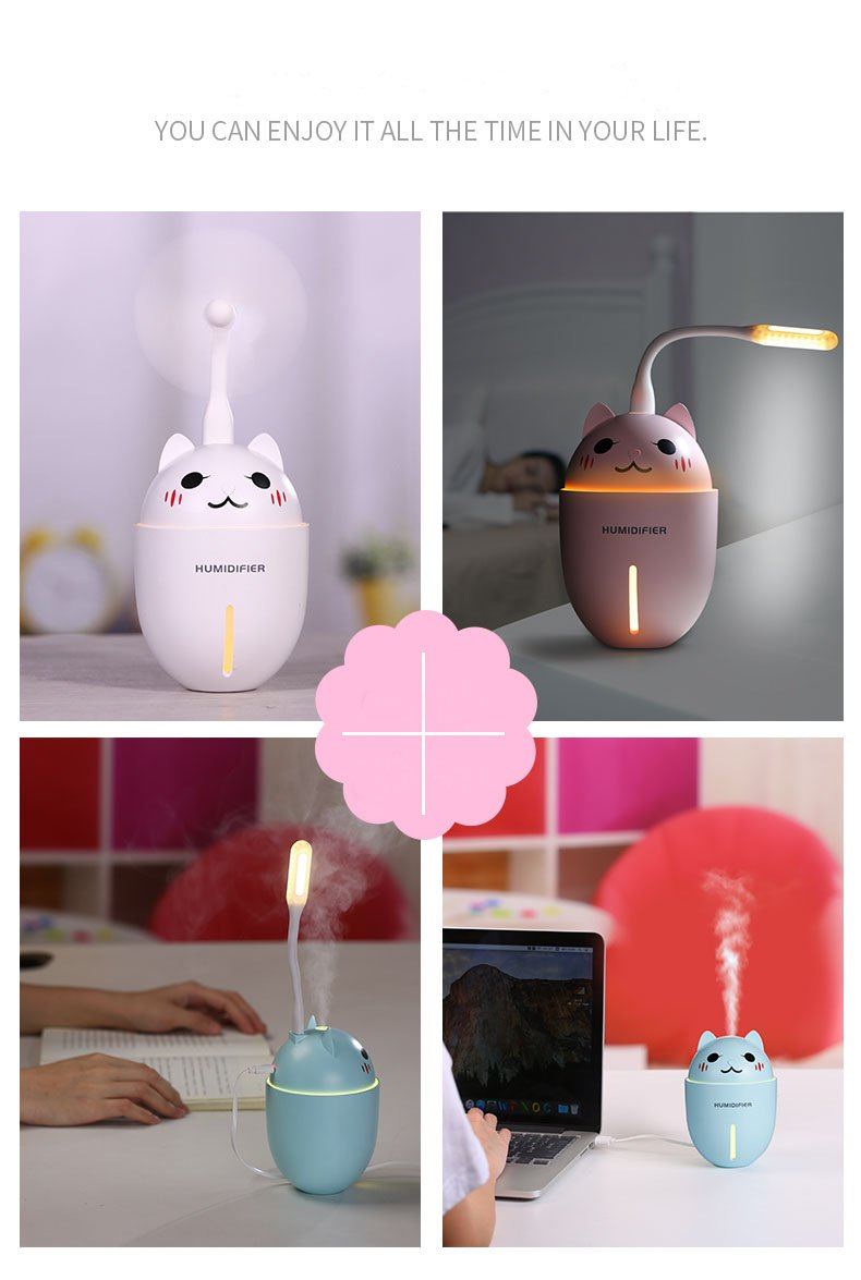 clearlove Mini Humidifier 3-in-1 Portable Mist Humidifier with USB Fan, LED Light, Auto Shut Off Protection (Pink)