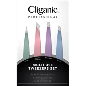 4-Piece Professional Tweezers Set with Case   Stainless Steel   Best Precision for Eyebrow, Splinter & Ingrown Hair Removal   Includes: Slant, Straight, Point & Point/Slant