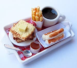 Dollhouse Miniature Food Set Pancake ,French Fries and Coffee Collectibles