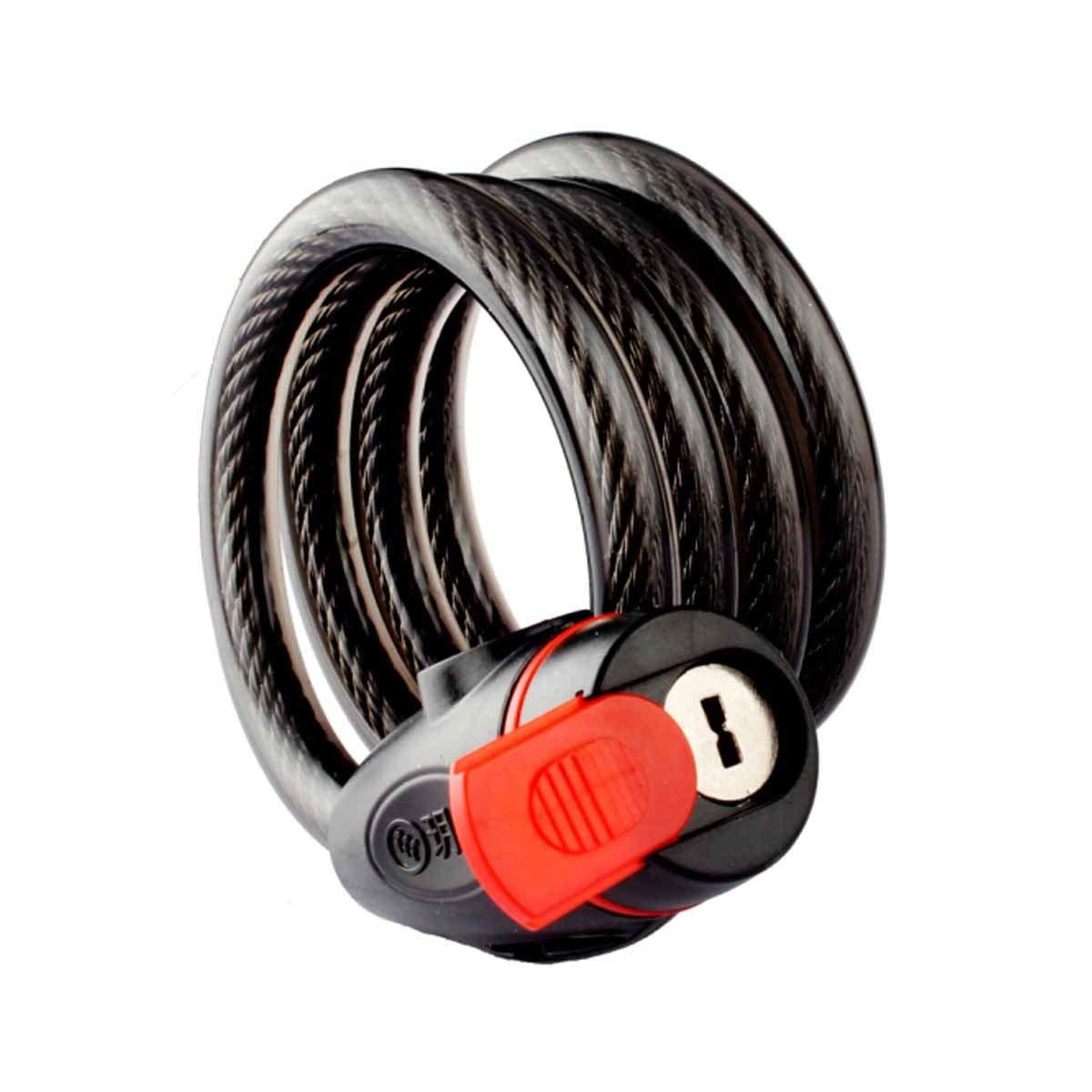 Cerradura de bicicleta Cerradura de bicicleta 1.15M * 11MM Cerradura de bicicleta de montaña Cerradura de cable de acero Color : Black Cerradura antirrobo negra