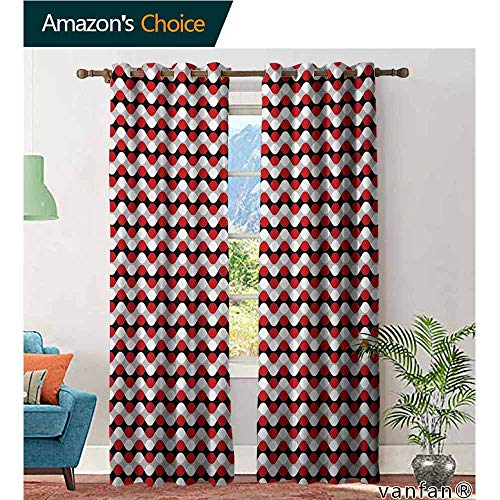 Big datastore Solid Grommet top Curtain,GeometricCurved Lines with Bicolor Oval Shapes Abstract Flow Themed Pattern,Extra Long and Wider,Vermilion Grey White,W108 xL108