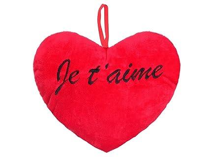 Cojín de peluche gigante con forma de corazón rojo con inscripción en francés «Je t