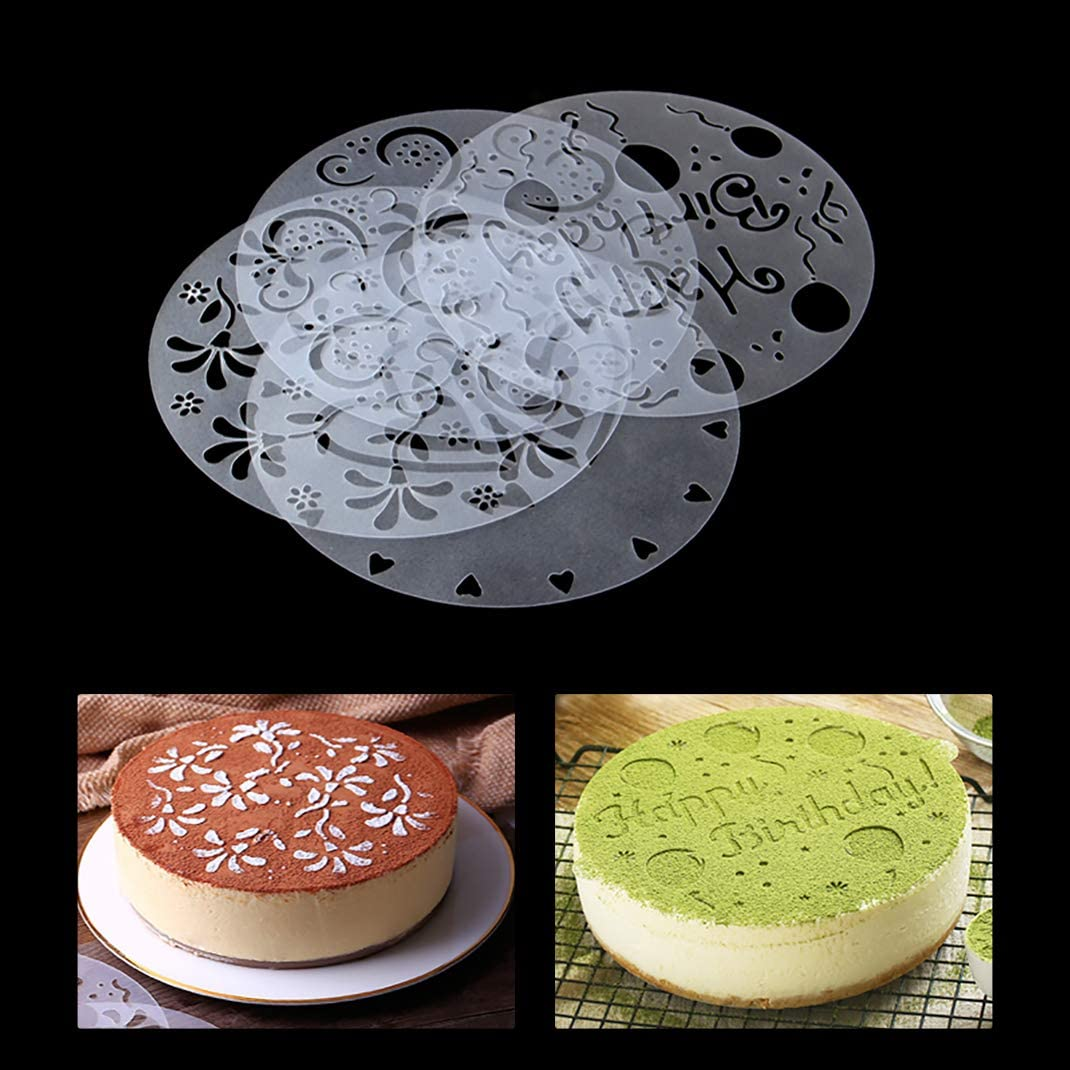 4pcs Template Mold Baking Tool Princess Lace Cake Cupcake Cookie Stencil #ORP
