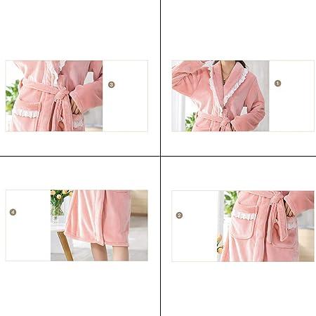 Kmgjc Bathrobe Terry Long Cardigan Bathrobe Flannel Warm Color : A, Size : L Home Bathrobe