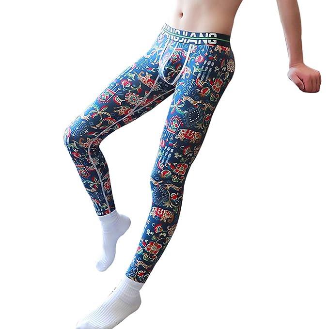 Hibote Hombre Térmico Pantalones Imprimir Interior Invierno Cálido Pantalones Suave Stretch Leggings de Algodón Largo Calzoncillos