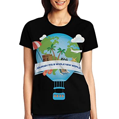 HSs4AD Hot Air Balloons Journey Its A Whole New World Cool Women s Short  Sleeve T- ef30ddda6