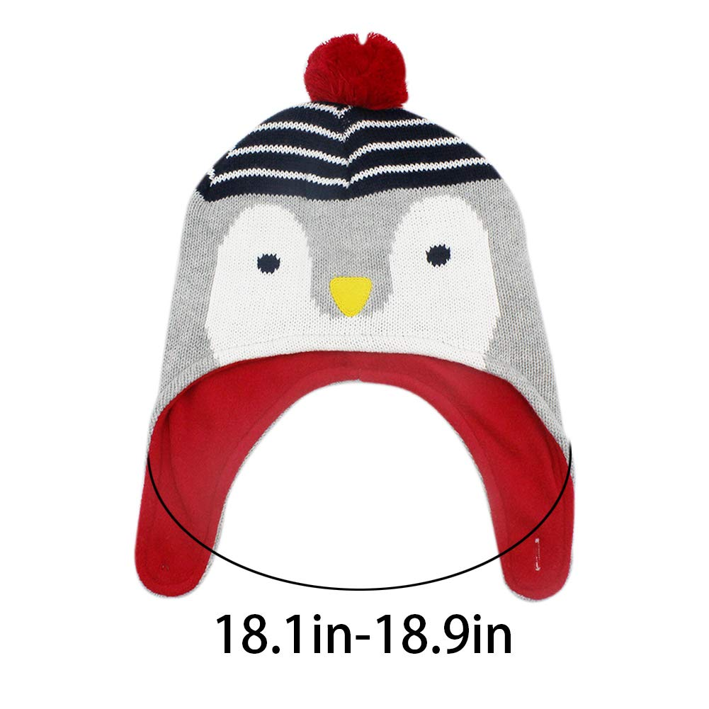 RARITY-US Kids Winter Knit Hat Warm Cute Penguin and Fox/ Pom Pom Earmuffs Cap for Girls Boys Toddler