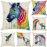Cotton Linen Throw Pillow Case Rainbow Animals Cushion Cover Home Office Decorative 18 X 18 Inches 6-Pack