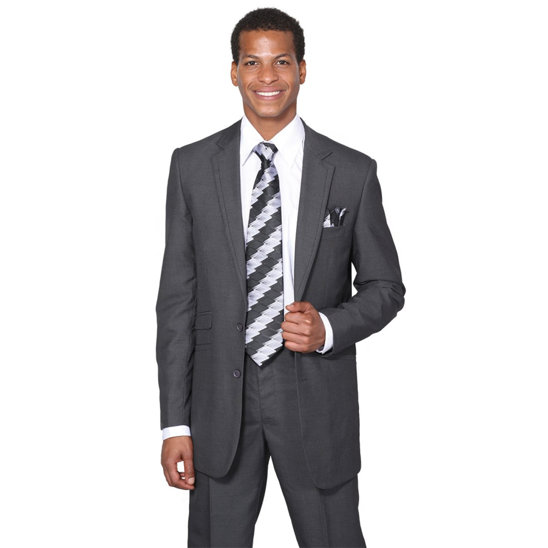Milano Moda Men's 2 Piece Set Luxurious Wool Feel Suit HLMD5702K New York Brand