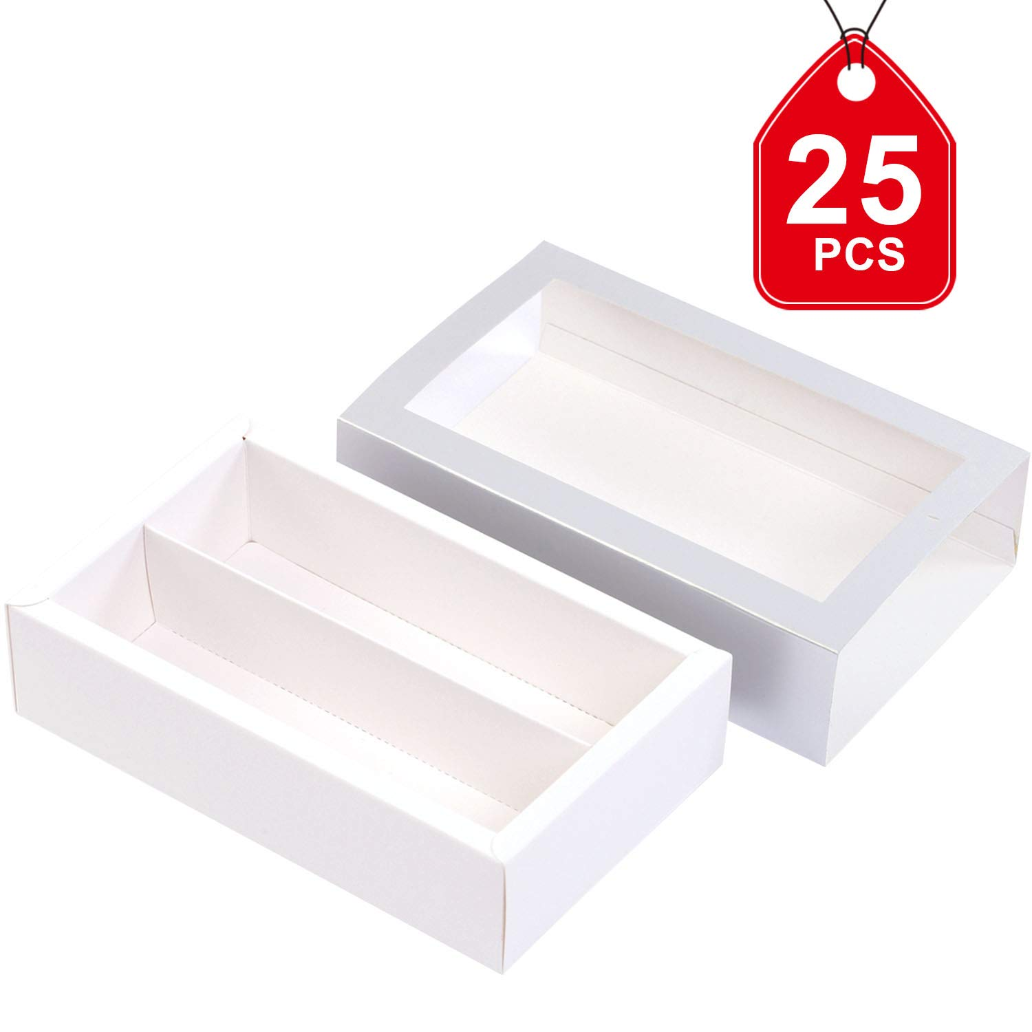 Macaron Boxes for 12 Macarons (Pack of 25) BAKIPACK SILVER Macaron Boxes Macarons Box with Clear Window (without Macaron inside)