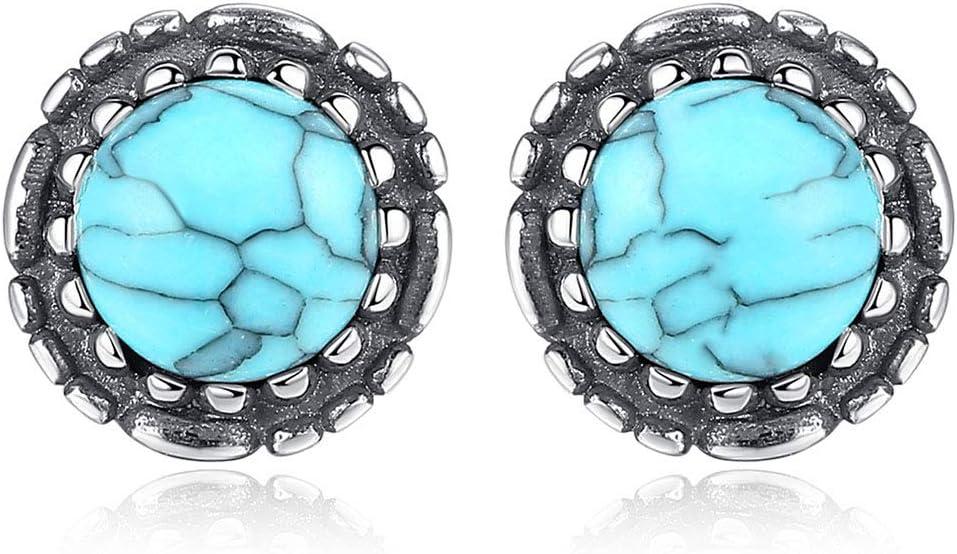 ZZD Pendientes de Mujer, Plata esterlina S925, no alérgica, Borde Negro, con Incrustaciones de joyería de Turquesa Natural