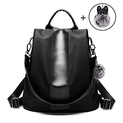 b0cd48715731 Amazon.com  Finwel Fashion Backpack Purse for Women Waterproof Nylon  Anti-theft Casual Backpack Covertible Shoulder Bags for Girls -Black  Shoes