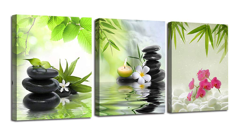 "Ardemy Canvas Wall Art Prints Zen Spa Pictures 3 Panels, Modern Orchid Black Stones Paintings Framed Massage Treatment Artwork for Bedroom Spa Salon Bathroom Living Room Wall Decor 12""x16""x3"