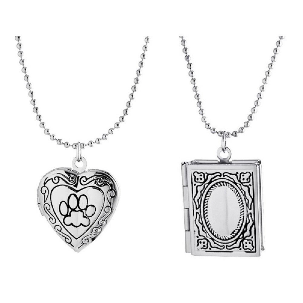 Power Wing Pendant Locket Necklaces Set that Holds Picture Women (silver tone-4)